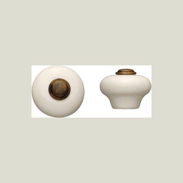 Porcelæn knop antik behandlet 28 mm